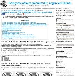Poinçons « Argent Massif de 1er Titre » (925 millièmes) actuels : Tête de Minerve