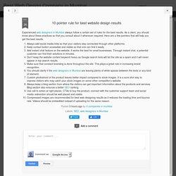 10 pointer rule for best website design results