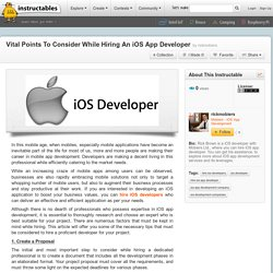 Vital Points To Consider While Hiring An iOS App Developer