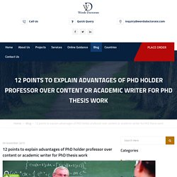 12 Points to Explain Advantages for PhD Thesis Work