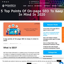 5 top points of On-page SEO to keep in mind in 2020