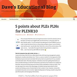 5 points about PLEs PLNs for PLENK10