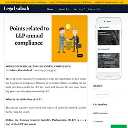 Some points regarding LLP annual compliance