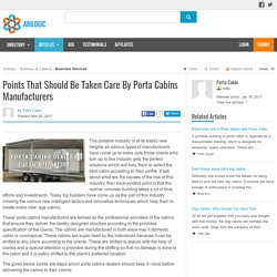 Points That Should Be Taken Care By Porta Cabins Manufacturers