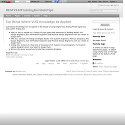 Top Points Where VLSI Knowledge be Applied