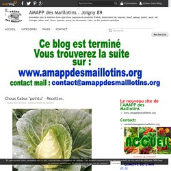 Recettes. - AMAPP des Maillotins . Joigny 89