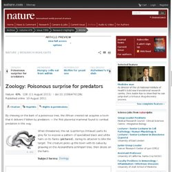 Zoology: Poisonous surprise for predators : Nature