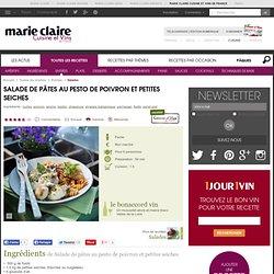 Salade de pâtes au pesto de poivron et petites seiches