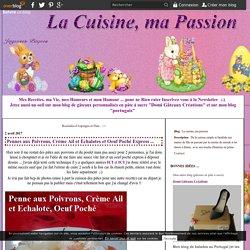 Pennes aux Poivrons, Crème Ail et Echalotes et Oeuf Poché Express