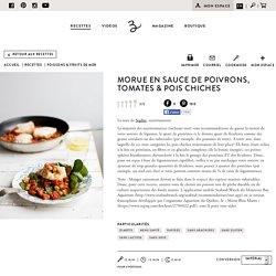 Morue en sauce de poivrons, tomates & pois chiches - Recette