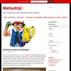 » Pokemon maths challenges