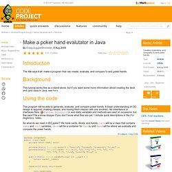Poker evaluator java