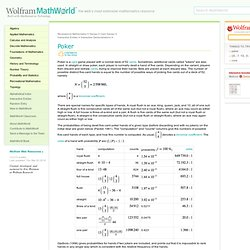 Poker -- from Wolfram MathWorld