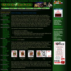 Free Poker Tips - Poker Strategy - Dynamic Hand Value - Poker Odds