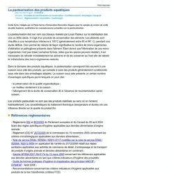 .POLE AQUIMER 21/10/12 La pasteurisation des produits aquatiques