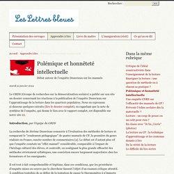 Polémique et honnêteté intellectuelle - Les Lettres bleues