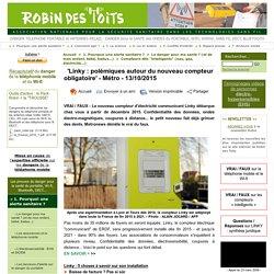 'Linky : polémiques autour du nouveau compteur obligatoire' - Métro - 13/10/2015