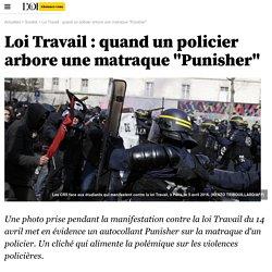 "Loi Travail : quand un policier arbore une matraque ""Punisher"""
