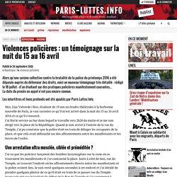 Violences policières : un témoignage sur la nuit du 15 au 16 avril