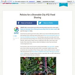 Policies for a Shareable City #12: Food Sharing