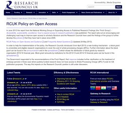 RCUK Policy on Open Access - Research Councils UK