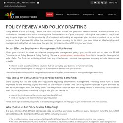 Policy Review, HR Policy Drafting, Legal Policy Drafting