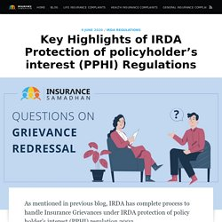 Highlights of IRDA (Protection of policyholder's interest) Regulations
