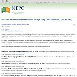 Research-Based Options for Education Policymaking - 2016 Collection (April 28, 2016)