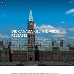 DID CANADA KILL THE PRESS RELEASE? — Political Communication