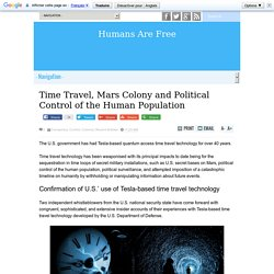 Time Travel, Mars Colony and Political Control of the Human Population
