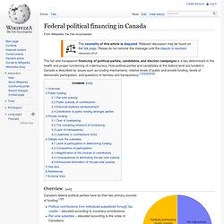 Federal political financing in Canada