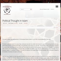 Political Thought in Islam - International Iqbal Society (Formerly DISNA)