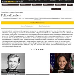 Famous Political Leaders - Famous Leaders, List of World Famous Politicians