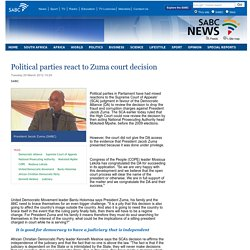 Political parties react to Zuma court decision :Tuesday 20 March 2012