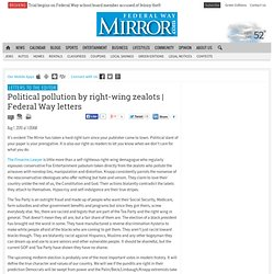 Political pollution by right-wing zealots | Federal Way letters - Federal Way Mirror