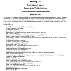 Political Science Graduate Program Reading List