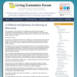 A Political and Spiritual Awakening of Humanity