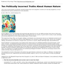 Ten Politically Incorrect Truths About Human Nature