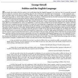 George Orwell: Politics and the English Language