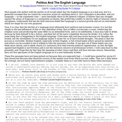 Politics And The English Language by George Orwell (1946)