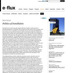 Politics of Installation