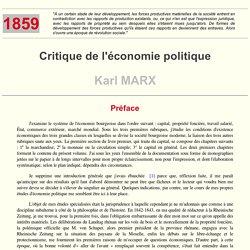 Critique de l'Economie politique - K. Marx (Avertissement)