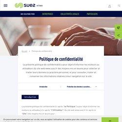 Politique de confidentialité - SUEZ en France