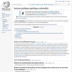 Lecture publique en France : une politique culturelle (définition)