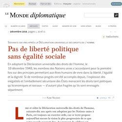 Pas de liberté politique sans égalité sociale, par Kumi Naidoo (Le Monde diplomatique, décembre 2018)