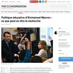 Politique éducative d'EmmanuelMacron: cequepeut en dire larecherche