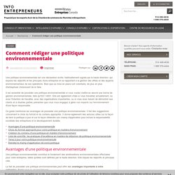 Comment rédiger une politique environnementale