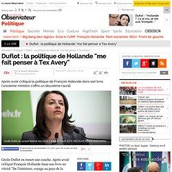 """Duflot : la politique de Hollande """"me fait penser à Tex Avery"""""""