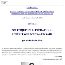 POLITIQUE ET LITTERATURE : L'HERITAGE D'EDWARD SAID, PAR KARIM EMILE BITAR