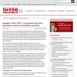 Espagne 1931-1937 : la politique de front populaire contre la révolution ouvrière